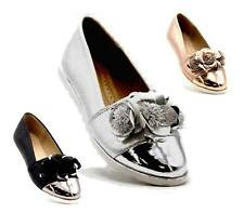 WOMENS METALLIC LOAFERS SLIP ON FLATS LOW HEEL LOAFERS ROSE LADIES SHOES SIZE