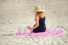 VIV&LOU PERSONALIZED PINEAPPLE ROUND BEACH TOWEL COOLER TOTE or COSMETIC BAG+