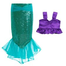 Baby Mermaid Princess Dress Kids Girls Sequins Tail Skirt+Top Party Costume Sets