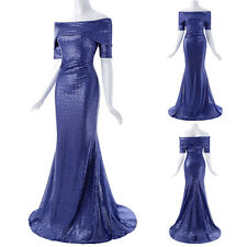 Women Sexy Sequined Short Sleeve Off Shoulder Ball Gown Evening Prom Party Dress