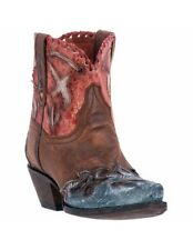 Dan Post Western Boots Womens Leather Bird Design Brown Red DP3696
