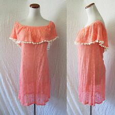 NEW CORAL Lace POM POM OFF The SHOULDER Mexican PEASANT Prairie Festival DRESS