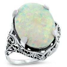 ANTIQUE STYLE VICTORIAN 925 STERLING SILVER LAB OPAL FILIGREE RING,         #988