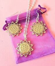 flower of life pendant necklace Sacred Geometry Reiki Yoga filigree silver chain