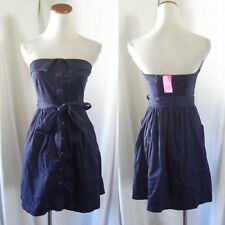 NEW Strapless RETRO Button NAVY BLUE Nautical SAILOR Ties PIN-UP Mini DRESS