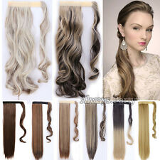Wrap Strap On Ponytail Clip In Hair Extensions Real Thick Ombre As Human Hair P2