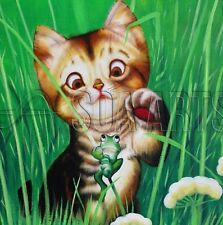 Cute Cat Acrylic Painting Lovely Animal Oil Painting On Canvas For Kids Room Art