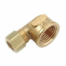 "Brass Compression Fitting. 90° Female Elbow. 3/8"" Tube x 1/2"" Pipe."