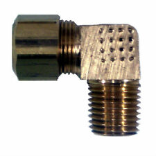 "Brass Compression Fitting. 90° Male Elbow. 3/16"" Tube x 1/8"" Pipe."