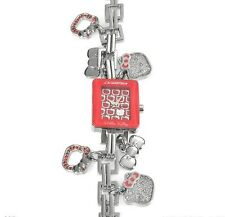 HELLO KITTY BY CHRONOTECH METALLIC BRACELET WITH CHARMS  LADIES WATCH