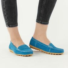 NICE Ladies Womens Suede Leather Slip On Driving Loafer Shoes Turquoise Blue