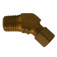 "Brass Compression Fitting. 45° Male Elbow. 3/8"" Tube x 3/8"" Pipe."