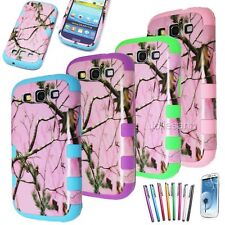 PINK TREE CAMO Hybrid Shockproof Hard Case For Samsung Galaxy S4 S3 i9300 I9500