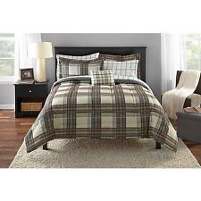 Mainstays Bed in a Bag Brown Plaid  XL Twin Full Queen King Size Comforter Sheet