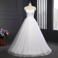New White/Ivory Tulle Wedding Dresses Bridal Gown Stock Size2+4+6+8+10+12+14+16
