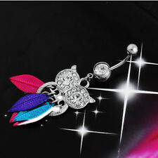 Body Navel Button Stainless Steel Belly Ring 1Pcs Owl Leaves Rhinestone Piercing