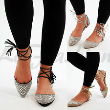 New Womens Pointed Ballet Flats Ankle Lace Up Diamante Sandals Casual Shoes Size