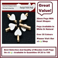 NATURAL PEGS WITH WHITE HEARTS - 30mm Small Wooden Craft Pegs - Wedding