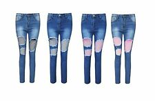 Ladies Ripped Front Denim Skinny Jeans Womens Mesh Net Distressed Trouser