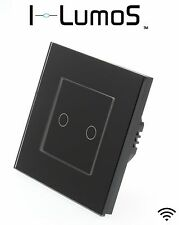 I LumoS Modern Black Glass Frame Touch, Dimmer, Remote & WIFI LED Light Switches