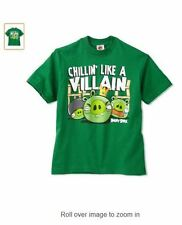 ANGRY BIRDS CHILLIN' LIKE A VILLAIN Youth Kids Green T-Shirt - Pig - Licensed