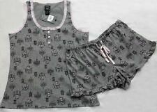 Laura Ashley Grey Chandeliers Cafe Ruffle Jersey Knit Pajama Shorts Set Wms NWT