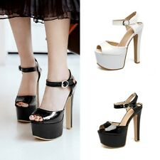 Womens Platforms Pumps Ankle Strap Buckle Open Toe Shoes High Heels Prom Sandals