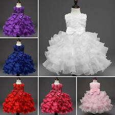 Baby Girls Princess Dress Kids Ruffles Bowknot Lace Party Wedding Dresses KKHT