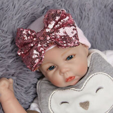 Newborn Infant Baby Sequin Bowknot Beanie Hat Soft Hospital Cap For 0-3 Months