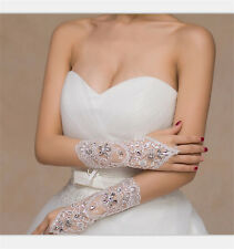 White/Ivory Wedding Bridal Glove Accessory Beaded Lace Fingerless Gloves S6