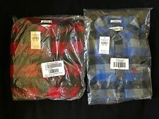 2 NWT Abercrombie & Fitch PLAID red/blue LS FLANNEL muscle fit SHIRTS boys S LOT
