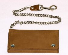 Leather Trifold Chain Wallet Credit Card Brown 7 Inch USA Made Biker Trucker