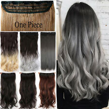 Real Thick Long As Real Human Clip In Hair Extensions Brown Blond Ombre Wavy P17