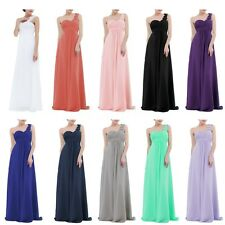Women Fkower One Shoulder Chiffon Bridesmaid Formal Evening Prom Wedding Dresses