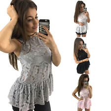 Sexy Tops T-Shirt Vest Summer Women Lady Hollow Lace Sleeveless Blouse Tank