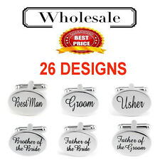 WEDDING CUFF LINKS-Best Man, Groom, Father of the Bride Usher OVAL SILVER-BAG