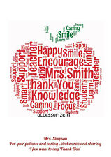 Personalised Apple Word Art Print - *Teacher Thank You Gift Idea*
