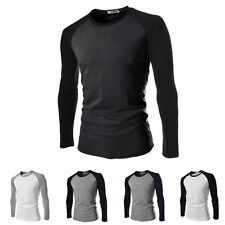 Men's Casual Slim Fit Long Sleeve Raglan Contrast Color Crew Neck T-shirt Tops