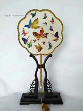 Chinese Totally 100% Hand Embroidered Su TWO-SIDED Embroidery Art:butterflies...