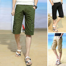 Casual Mens Cargo Shorts Beach Pants Cotton Solid Color Short Pants Trousers