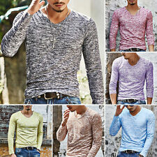 Men's Slim Fit Long Sleeve Slim T-shirts Casual Tee Shirt Tops Pullover V-Neck T