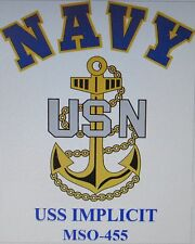 USS IMPLICIT  MSO-455* MINESWEEPER * U.S NAVY W/ ANCHOR* SHIRT