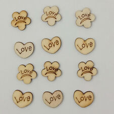 100 Pcs Flower Love Heart No Hole Wood Sewing Scrapbooking Wood Buttons Sweet