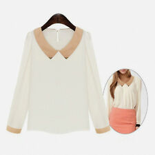 Women Chiffon Doll Collar Hot Long Sleeve Sweet Blouse Fashion Casual