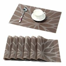 Durable Kitchen Table Placemats Set of 4 pcs 6 pcs Woven Vinyl Leaves Place Mats