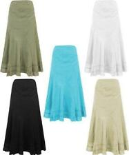 Ladies Women Embroidered Panel Skirt Full Hippy Boho Floral Stretch Cotton C4018