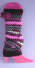 Betsey Johnson Pom Pom Leg Warmers NWT One Size Gray Black Pink Blue/Gray