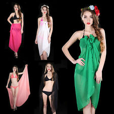 Swimwear Wrap Bikini Cover Up Solid Sexy Sarong Beach Swimsuit Sheer Pareo Women