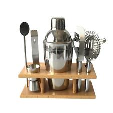 Cocktail Shaker Jigger Strainer Bottle Opener Ice Tong Mix Spoon Stand Set