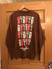 MAHARISHI MHI MENS BROWN CREW SWEAT JUMPER WITH BUNTLACK PRINT SIZE MEDIUM!!